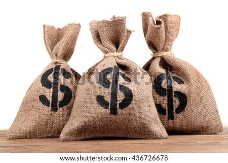 Sacks with money on white background - stock photo