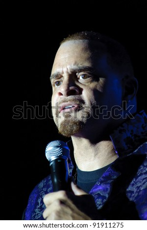 SACRAMENTO, CA - DECEMBER 31: Comedian Sinbad performs at Thunder Valley Casino Resort in Sacramento, California on December 31, 2011 - stock photo