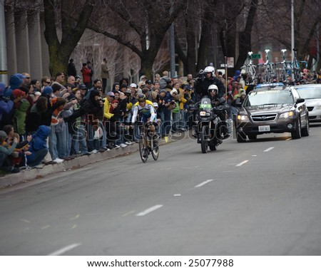 SACRAMENTO, CA - February 14, 2009: Lance Armstrong competing in the AMGEN Tour of California - stock photo