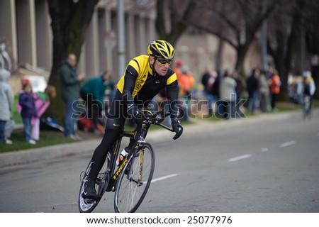 SACRAMENTO, CA - February 14, 2009: Lance Armstrong preparing for the AMGEN Tour in Sacramento, CA - stock photo