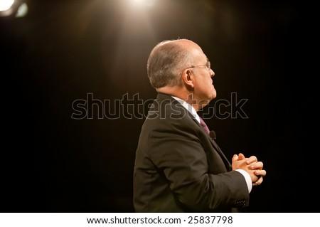 "SACRAMENTO, CA - February 24: Rudy Giuliani speaking at a ""Get Motivated"" Seminar at the Arco Arena in Sacramento, California on February 24, 2009. - stock photo"