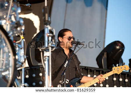 SACRAMENTO, CA - JULY 24: Hector Maldanado with Train performs at Thunder Valley Casino and Resort in Lincoln, California on July 24th, 2011