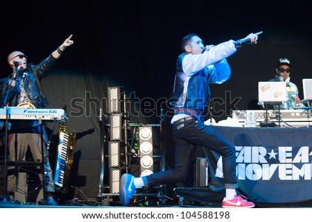 SACRAMENTO, CA - JUNE 6: Far East Movement performs in LMFAO's tour at Power Balance Pavilion in Sacramento, California on June 6, 2012 - stock photo