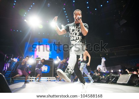 SACRAMENTO, CA - JUNE 6: LMFAO's SkyBlu in Sorry For Party Rocking Tour at Power Balance Pavilion in Sacramento, California on June 6, 2012 - stock photo