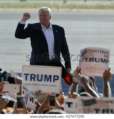 SACRAMENTO, CA - JUNE 01, 2016: Republican Presidential candidate Donald Trump arrives at a campaign rally in his  jet at airport hanger in Sacramento, California