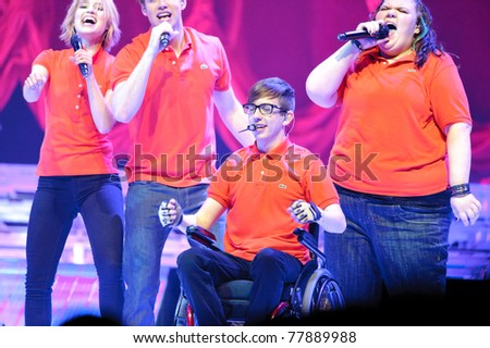 SACRAMENTO, CA - MAY 23: Kevin Mchale and cast members perform at the Glee Live! In Concert! tour at the Power Balance Pavilion on May 23, 2011 in  Sacramento, California. - stock photo