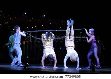 Sacramento, CA - MAY 11: Performers skipping Rope at Cirque du Soleil's show 'Quidam' on May 11, 2011 in Sacramento California
