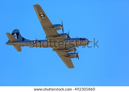 "Sacramento CA, Sep 30, 2016: California Capital Airshow B-29 Heavy Bomber ""FIFI"" landing.. This is the type of aircraft that delivered the atomic bomb ending World War 2."