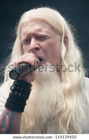 SACRAMENTO, CA - SEPTEMBER 23:  Aaron Nordstrom of Gemini Syndrome performs in Aftershock music festival featuring Bush, Deftones, at Discovery Park in  Sacramento, CA on September 23, 2012 - stock photo
