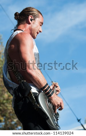 SACRAMENTO, CA - SEPTEMBER 23: Gavin Rossdale of Bush performs as part of the Aftershock Music Festival at Discovery Park on September 23, 2012 in Sacramento, California. - stock photo