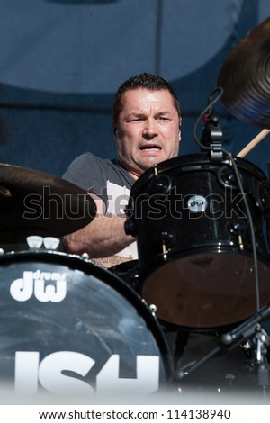 SACRAMENTO, CA - SEPTEMBER 23:  Robin Goodridge  of Bush performs in Aftershock music festival featuring Bush, Deftones, STP, and more at Discovery Park in  Sacramento, CA on September 23, 2012 - stock photo