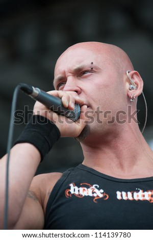 SACRAMENTO, CA - SEPTEMBER 23:  Sammy Karlin of Fallrise performs Aftershock music festival featuring Bush, Deftones, STP, and more at Discovery Park in  Sacramento, CA on September 23, 2012 - stock photo