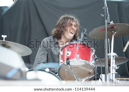 SACRAMENTO, CA - SEPTEMBER 23:  Tony Cupito of Beware of Darkness performs as part of the Aftershock Music Festival at Discovery Park on September 23, 2012 in Sacramento, California. - stock photo