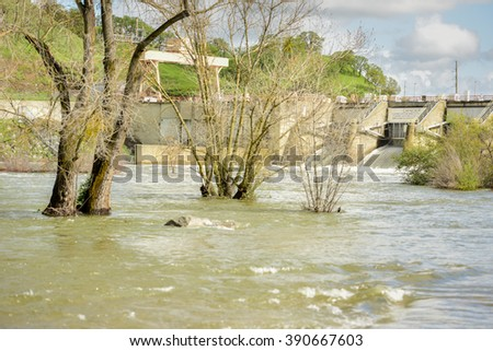 Sacramento, California - March 14, 2016: Localized flooding along the lower American River is a result from recent back-to-back storms in Northern California.