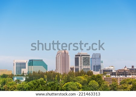 Sacramento California Skyline. City of Sacramento in Summer. Downtown and Large Clear Blue Sky as Copy Space. Sacramento is the Capital City of the California State.