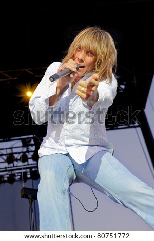 SACRAMENTO - JULY 9: Jeff Keith with Tesla performs at Thunder Valley Casino and Resort in Sacramento, California on July 9, 2011