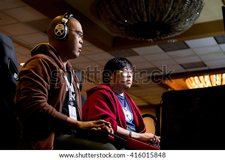 SACRAMENTO - MARCH 27: BT Clockwork versus Justin Wong in Ultimate Marvel vs. Capcom 3 match at video game competition on March 27, 2016 at NCR NorCal Regionals, the premier fighting game tournament. - stock photo