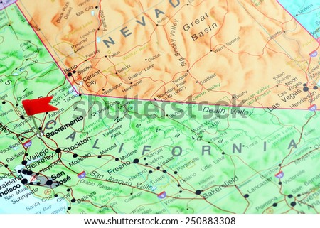 Sacramento pinned on a map of USA  - stock photo