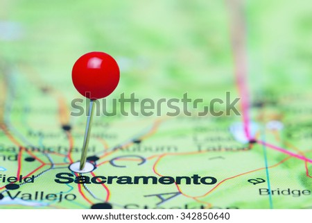 Sacramento pinned on a map of USA  - stock photo