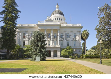 Sacramento state capitol building and park California. - stock photo