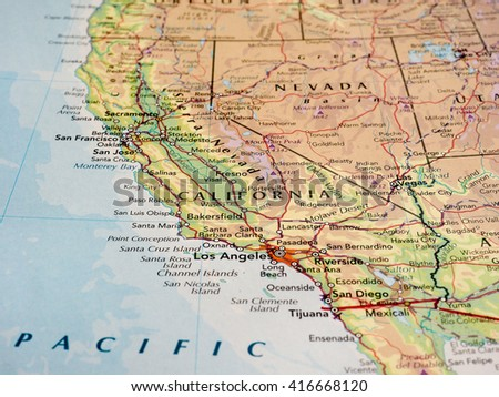 SACRAMENTO, USA - CIRCA MAY 2016: Map of the state of California with selective focus on state name