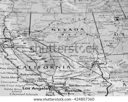 SACRAMENTO, USA - CIRCA MAY 2016: Map of the state of California with selective focus on state name in black and white