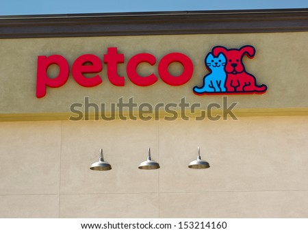 SACRAMENTO, USA - SEPTEMBER 5, 2013: Petco store sign. Petco Animal Supplies is an American chain of retail stores that sells pet supplies and services as well as live animals. - stock photo