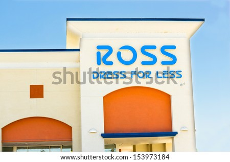 SACRAMENTO, USA - SEPTEMBER 5: ROSS store in Sacramento, California. Ross Stores, Inc. is a chain of American off-price department stores operating under the name Ross Dress for Less. - stock photo
