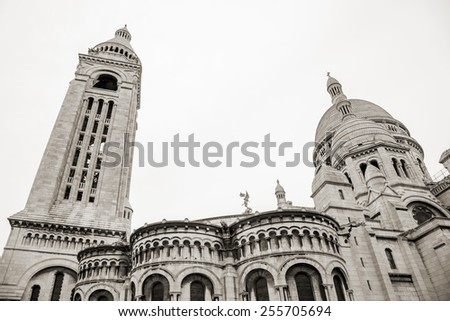 Sacre Coeur Basilica, large medieval cathedral, Basilica of Sacred Heart, one of the most popular landmark of Paris, France - stock photo