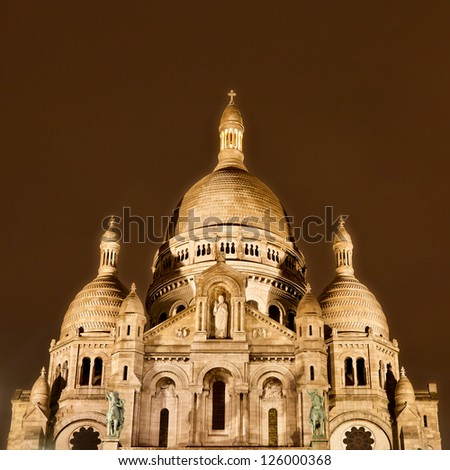 Sacre-Coeur Basilica, Montmarte, Paris, at night.