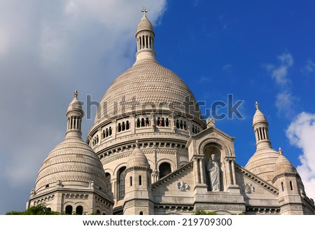 Sacre Coeur Basilica on Montmartre, Paris, France. - stock photo