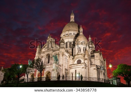 Sacre Coeur Cathedral at night, Paris, France - stock photo