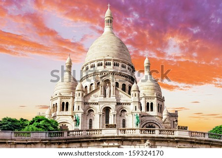 Sacre Coeur Cathedral on Montmartre Hill at Dusk, Paris, France - stock photo