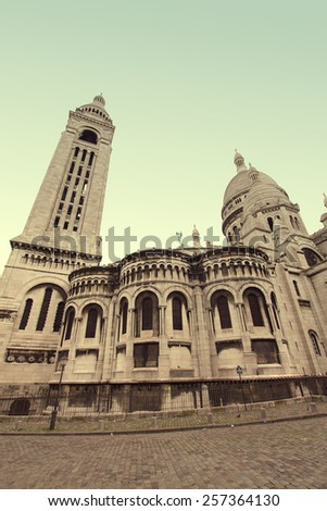 Sacre Coeur Cathedral on Montmartre, Paris, France. retro style - stock photo