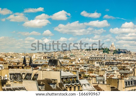 Sacre Coeur in cityscape of Paris