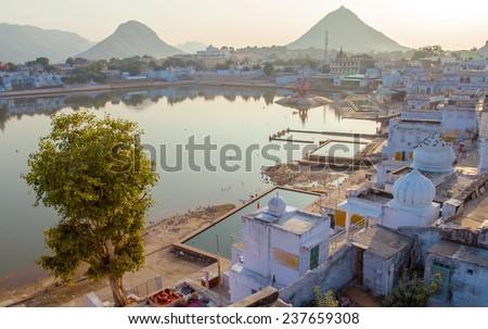 Sacred lake in Pushkar, Rajasthan, India - stock photo