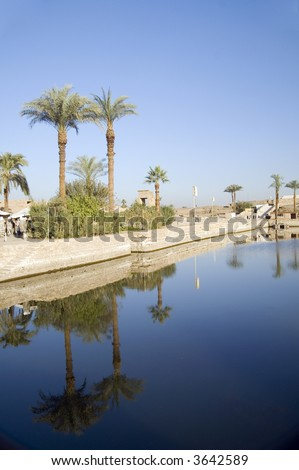 Sacred lake in Temple of Karnak, Egypt - stock photo