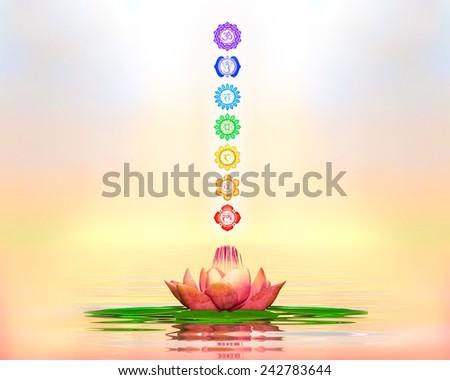 Sacred Lotus And Chakras - stock photo