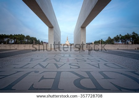 Sacred place with views of the church and the people. Fatima, Portugal. - stock photo
