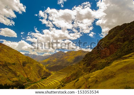 Sacred Valley of the Incas (Urubamba Valley). It is located in the present-day Peruvian region of Cusco. - stock photo