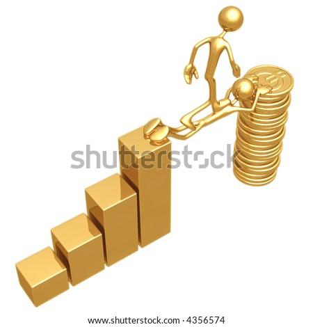 Sacrifice Bridge Between A Bar Graph And A Gold Euro Coin Stack - stock photo