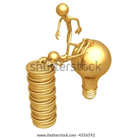 Sacrifice Bridge Between An Idea And A Gold Dollar Coin Stack - stock photo