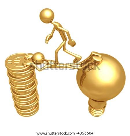 Sacrifice Bridge Between An Idea And A Gold Euro Coin Stack - stock photo