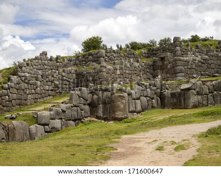Sacsayhuaman. a walled complex and ancient inca fortress on the northern outskirts of the city of Cusco, Peru, the former capital of the Inca Empire.