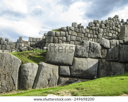 Sacsayhuaman, Incas ruins in the peruvian Andes at Cuzco Peru - stock photo