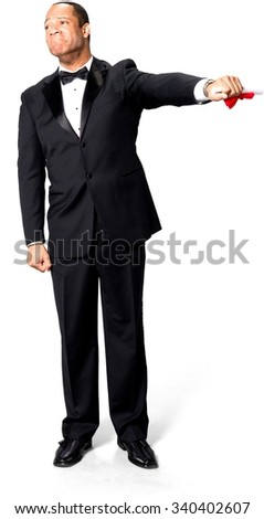 Sad African man with short black hair in evening outfit holding diploma - Isolated