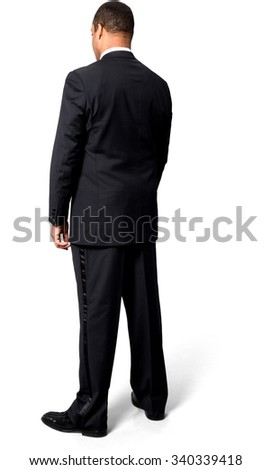 Sad African man with short black hair in evening outfit - Isolated