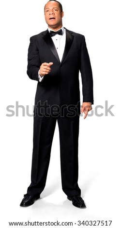 Sad African man with short black hair in evening outfit talking with hands - Isolated