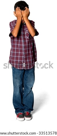Sad African young boy with short black hair in casual outfit crying - Isolated - stock photo