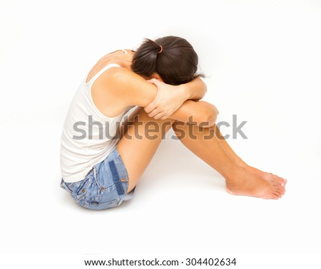 Sad and suffering emotional of woman on white background. - stock photo